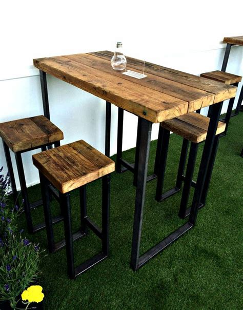 retro high top table and stools new industrial high table with thick wooden top cave