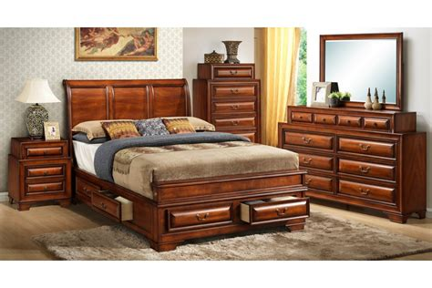 Storage Bedroom Furniture Sets Bedroom Sets South Coast Cherry King Size Storage Bedroom Set Newlotsfurniture
