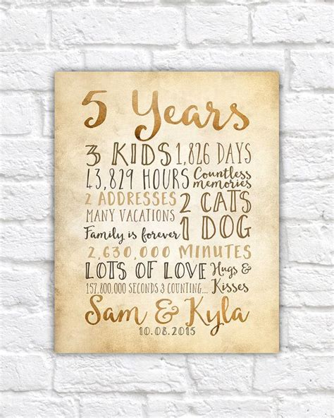 5 year anniversary gifts rustic sign for wall anniversary countdown time together in days