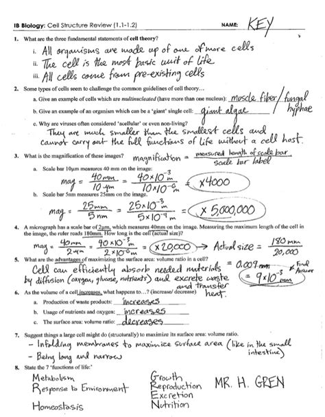 Cell Size Worksheet Answers ib cell structure review key 1 1 1 2