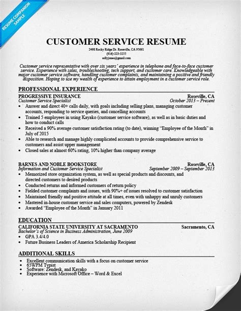 resume format for customer support customer service resume sle resume companion