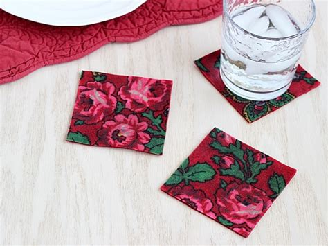 decoupage with vintage fabric diy coasters mod podge rocks