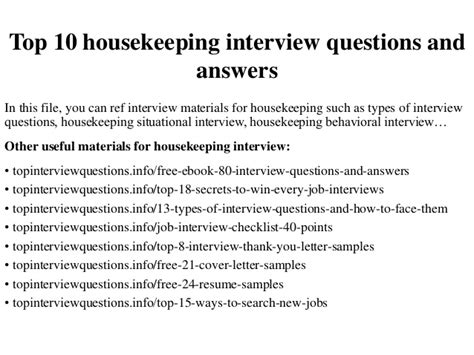 Or Questions Clean And Top 10 Housekeeping Questions And Answers