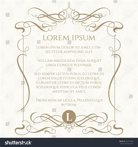 classic invitation card template monogram calligraphic frame classic seamless pattern stock