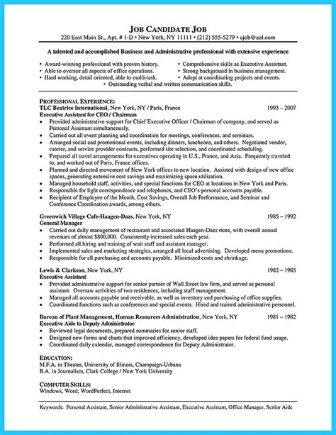 example resume administrative assistant executive assistant resume