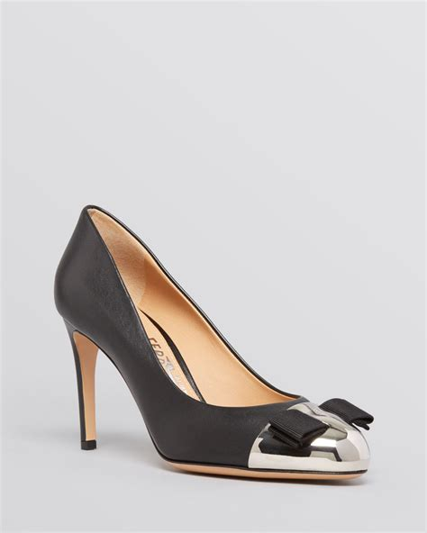high heel pumps for ferragamo pumps high heel in black lyst