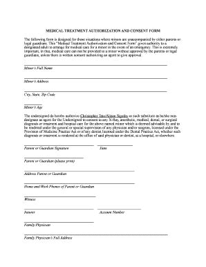 treatment authorization letter for a minor consent form for child traveling without parents