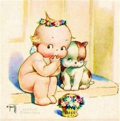 kewpie illustrations vintage kewpie w puppy fabric block 5x7