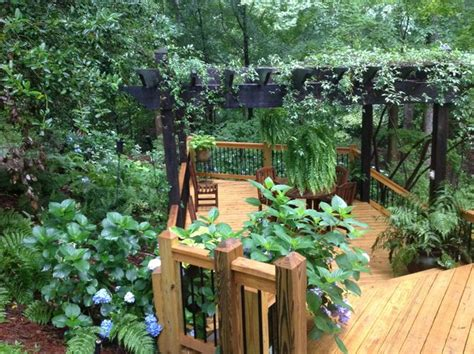 Woodwork Kitchen Designs Landscaping For Slope And Shade Traditional Deck