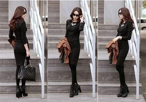 Dress Panjang Selutut tags dress korea hitam panjang selutut jual terbaru pictures