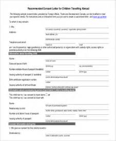 Parent Consent Letter Canada Sle Child Travel Consent Form 5 Exles In Word Pdf