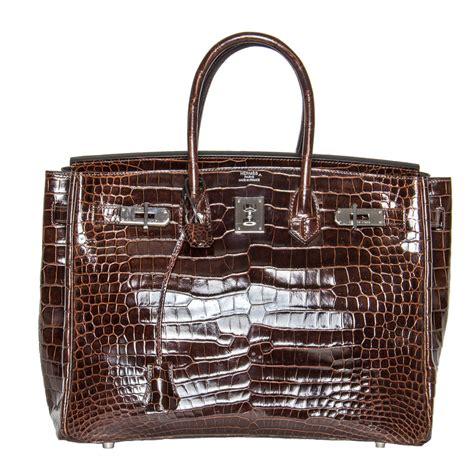 Hermes Croco Glossy hermes brown shiny croco birkin 35 cm bag at 1stdibs