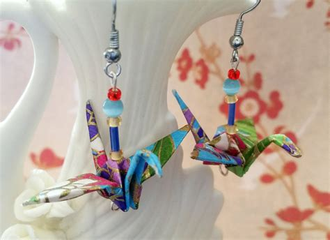 Handmade Paper Earrings Jewelry - tropical origami crane earrings beaded handmade paper jewelry