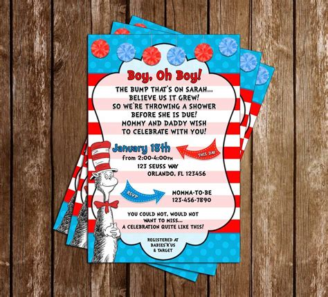 Cat In The Hat Baby Shower Invitations by Novel Concept Designs The Cat In The Hat Baby Boy