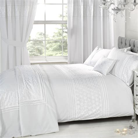 king linen curtains everdean white embroidered bedding set duvet sets