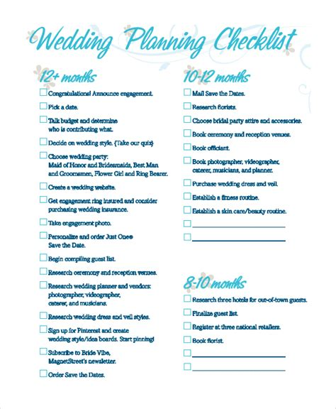 Wedding Reception Checklist Pdf by Sle Wedding Checklist 8 Exles In Pdf