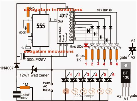 light chaser circuit diagram knight rider led chaser circuit mains operated