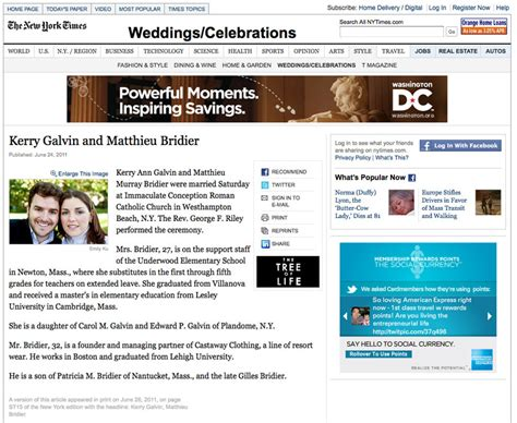 Wedding Announcement In The New York Times by Wedding Section Of New York Times