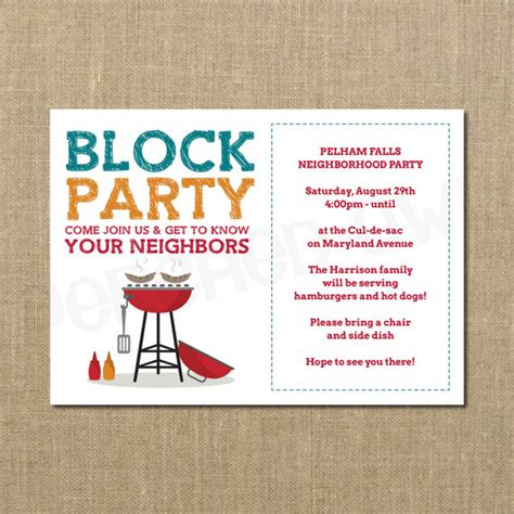 free block flyer template neighborhood block cookout invitation grilling out