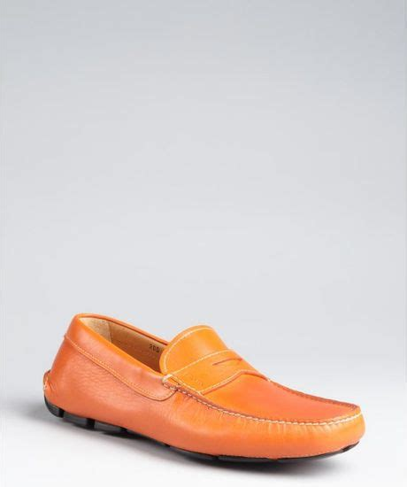 mens orange loafers prada traffic orange leather loafers in orange for lyst