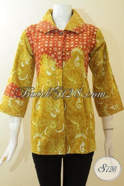 desain baju batik kombinasi busana batik modern warna kuning kombinasi orange baju
