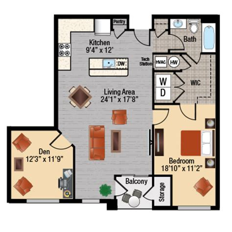Floor Plans For One Bedroom Apartments apartments with a den in frederick md east of market