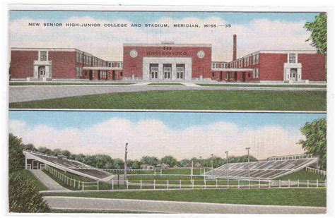 high school junior college stadium meridian ms postcard ebay