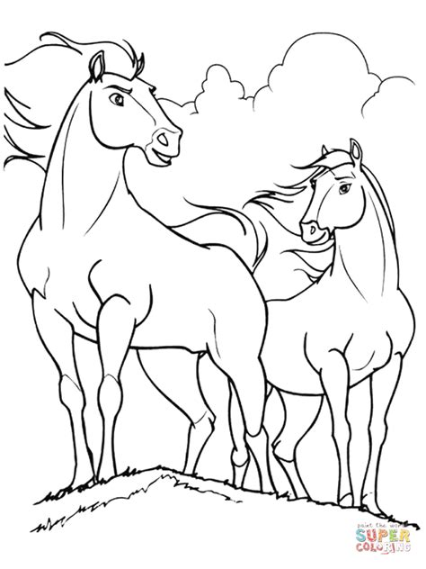 spirit and rain horses coloring page free printable