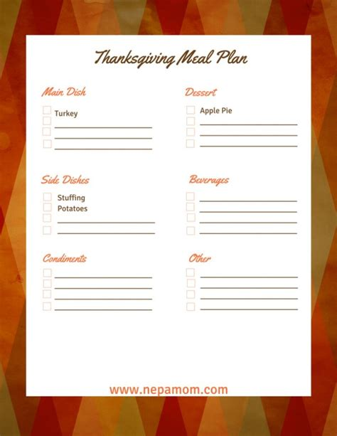 thanksgiving meal planner template thanksgiving menu template an easy way to prepare for the