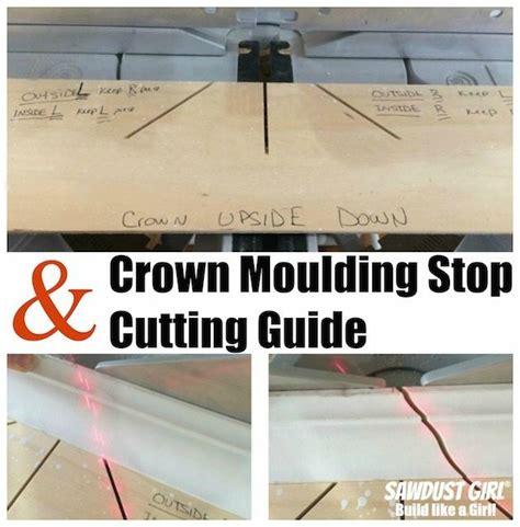 cut crown molding cutting guide sawdust girl