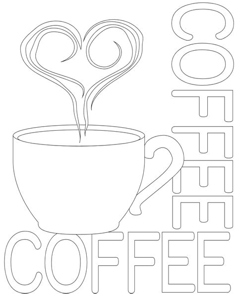 cup of hot coffee coloring pages