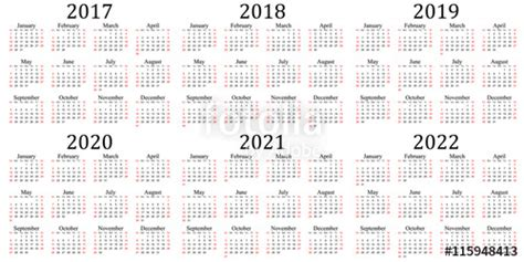 Kalender 2020 Bw Quot Six Year Calendar 2017 2018 2019 2020 2021 And 2022