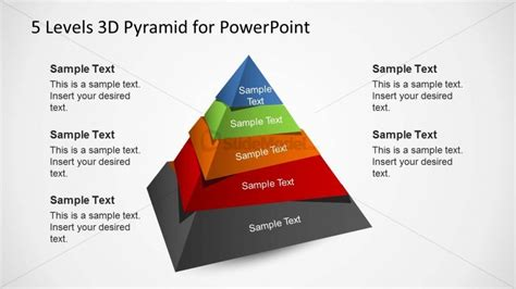 3d Pyramid Template For Powerpoint With 5 Levels Slidemodel 3d Pyramid Powerpoint Template