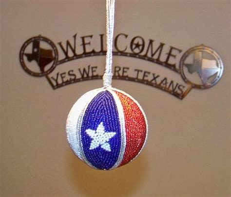 beaded texas flag christmas ornament