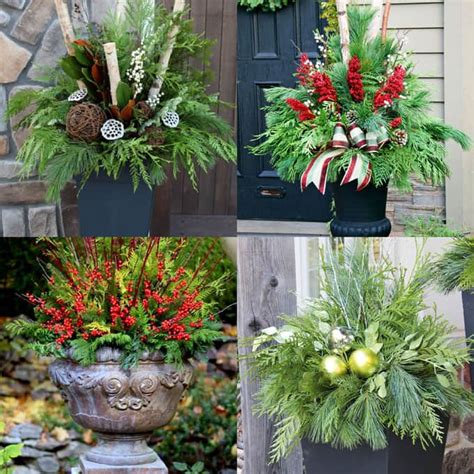 christmas decorating huge stone urns in front of entrance diy table decorations easy centerpiece in 10 minutes a of rainbow
