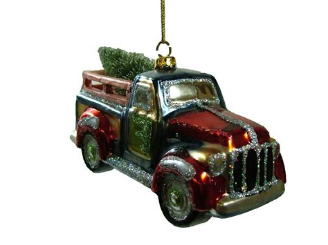 new glass vintage classic style pickup truck red christmas