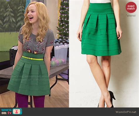 Camerons Kinda Sorta Dress by Wornontv Liv S Green Skirt And Grey Floral Beaded Top On