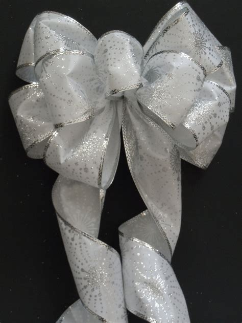 silver iridescent bow christmas bows white silver winter