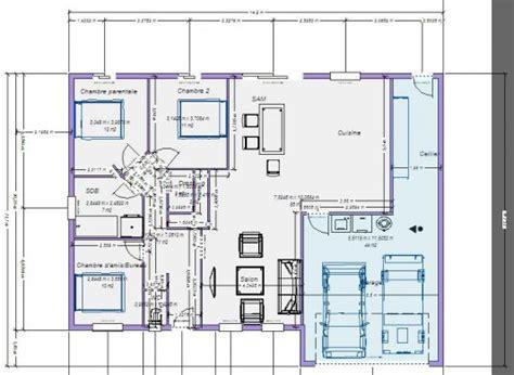 Plan Maison 100m2 Plein Pied 4115 by Plan Maison 4 Chambres 130m2