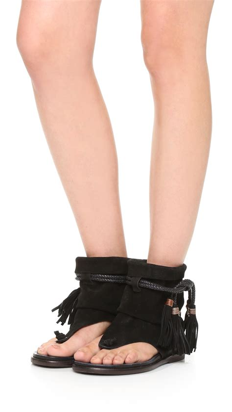 boat sandals free people marlo boot sandals in black lyst
