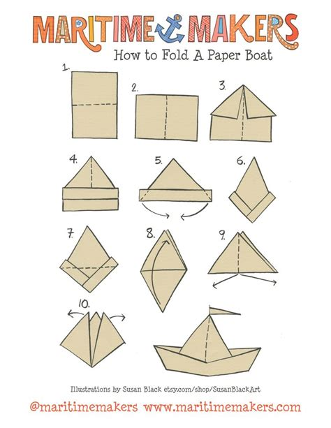 Paper Boat Folding - maritime makers how to fold a paper boat printable