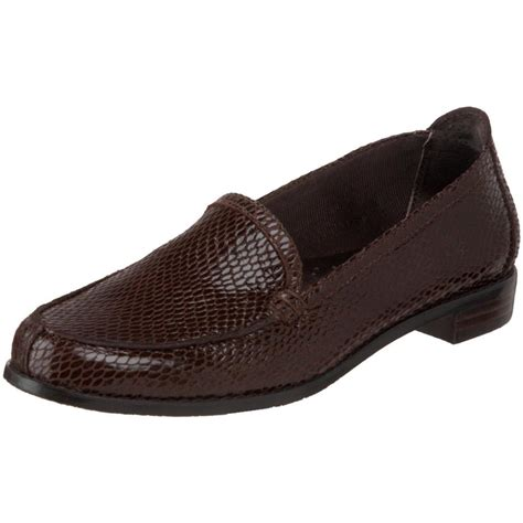 brown loafers womens shoes trotters womens brown snake print leather loafers