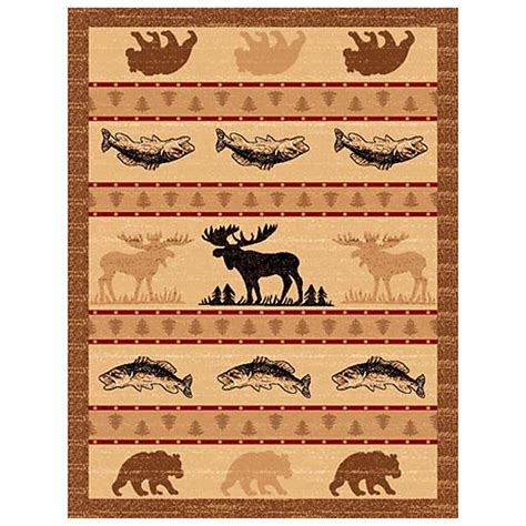 Lodge Area Rug Donnieann 174 5x8 Lodge Area Rug Brown Moose Fish Design 215410 Rugs At Sportsman S