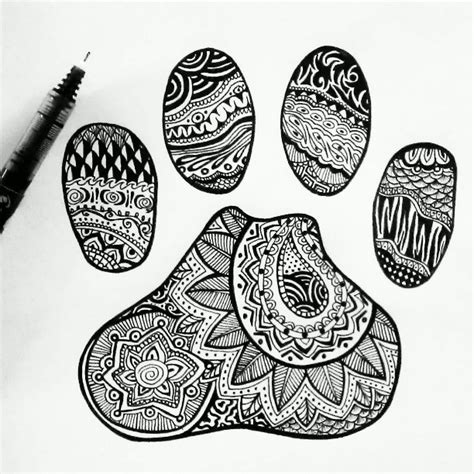 zentangle tattoo animal paw print by emilymeganx deviantart com on deviantart