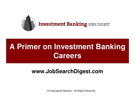 Careers In Investment Banking From Mba by A Primer On Investment Banking Careers