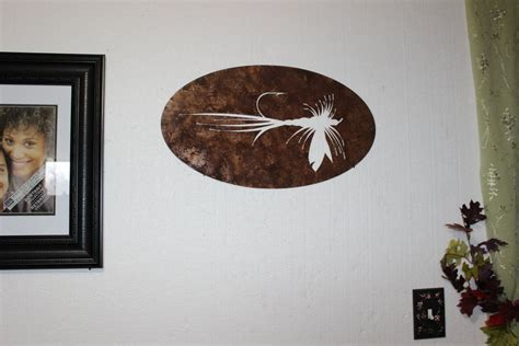 fly fishing home decor hand made fly fishing bait metal wall sign home decor by