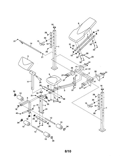 weight bench parts weight bench diagram parts list for model 831159070
