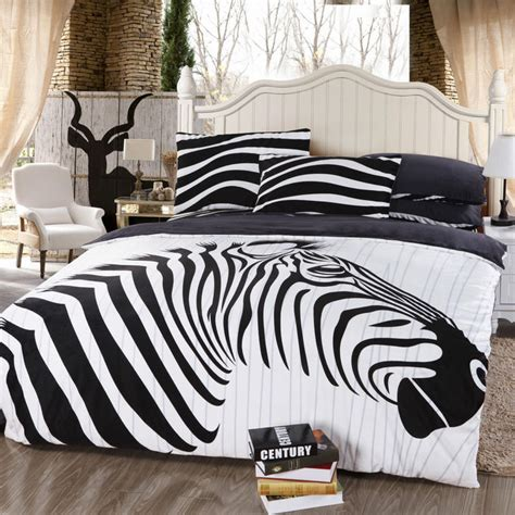 zebra animal print black white bedding comforter set queen