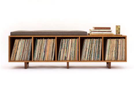 vinyl lp storage bench lo fi edition  mid century