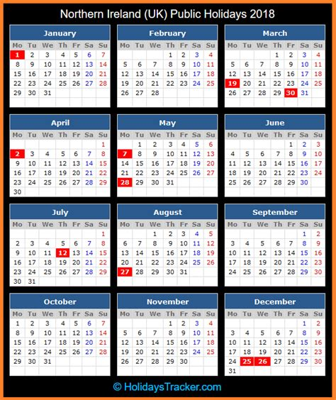 Calendar 2018 Northern Ireland Northern Ireland Uk Holidays 2018 Uk Holidays